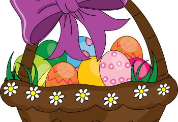 Clip art illustration of a colorful cartoon Easter basket filled with decorated eggs.